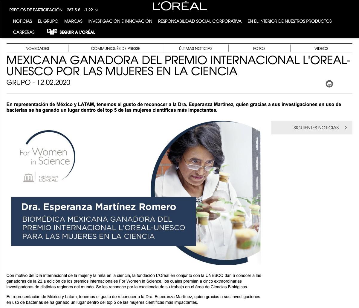 Premio Loreal Dra Esperanza Martinez